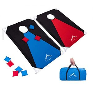 Himal Portable PVC Framed Cornhole Game Set with 8 Bean Bags and Carrying Bag (Blue-Red