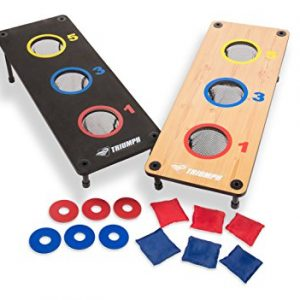 Triumph 2-in-1 Three-Hole Bags and Washer Toss Combo with Two Game Platforms Featuring On-Board Scoring