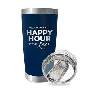 SassyCups Always Happy Hour at the Lake Tumbler Cup | 20 Ounce Engraved Navy Stainless Steel Insulated Travel Mug | Lake House Decor | Lake Housewarming | Lake Lovers | Boat Owner | Lake Accessories