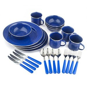 STANSPORT – Deluxe 24-Piece Enamel Tableware Set: Plates