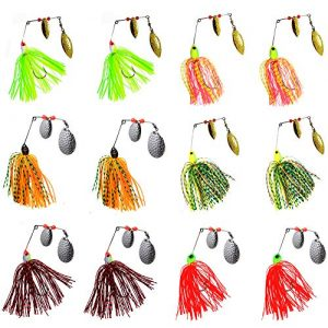 AGOOL Fishing Spinner Baits Lure Kit – Hard Metal Spinner Lures Multicolor Jig Lures Buzzbait Swimbaits for Pike Bass Trout Salmon Freshwater Saltwater Fishing 6pcs/12pcs