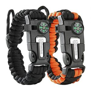 Atomic Bear Paracord Bracelet (2 Pack) – Adjustable Size – Fire Starter – Loud Whistle – Emergency Knife – Perfect for Hiking